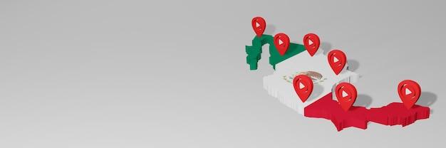 3dレンダリングのインフォグラフィックのためのメキシコのソーシャルメディアとyoutubeの使用