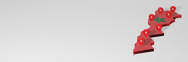 3d 렌더링에서 인포 그래픽을 위해 모로코의 소셜 미디어 및 youtube 사용