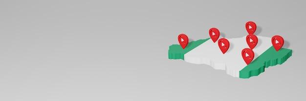 3d 렌더링에서 인포 그래픽을위한 니제르의 소셜 미디어 및 youtube 사용