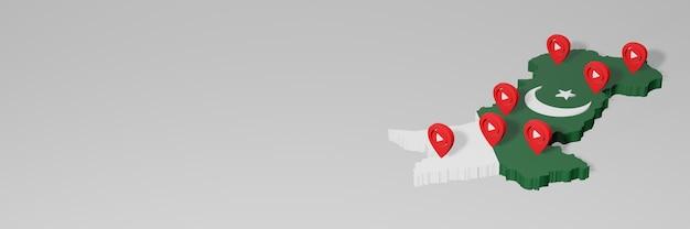 3dレンダリングのインフォグラフィックのためのパキスタンのソーシャルメディアとyoutubeの使用