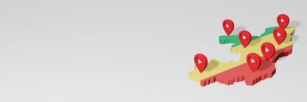 3dレンダリングのインフォグラフィックのためのコンゴ共和国のソーシャルメディアとyoutubeの使用