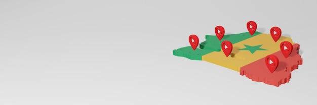 3dレンダリングのインフォグラフィックのためのセネガルのソーシャルメディアとyoutubeの使用