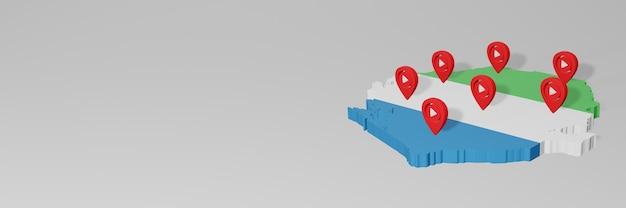 Использование социальных сетей и youtube в siera leone для создания инфографики в 3d-рендеринге