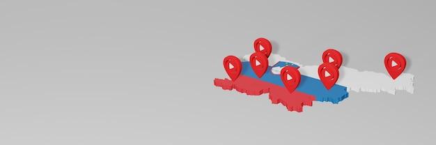 3dレンダリングのインフォグラフィックのためのスロベニアのソーシャルメディアとyoutubeの使用