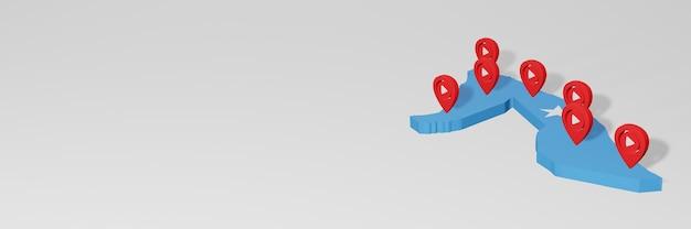 3dレンダリングのインフォグラフィックのためのソマリアのソーシャルメディアとyoutubeの使用