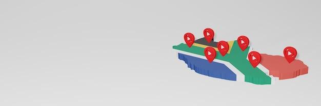 Использование социальных сетей и youtube в южной африке для создания инфографики в 3d-рендеринге