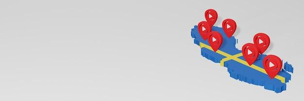 3dレンダリングのインフォグラフィックのためのスウェーデンのソーシャルメディアとyoutubeの使用