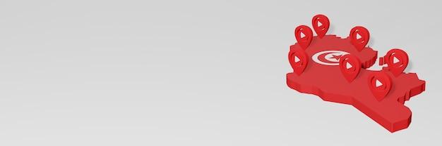 Использование социальных сетей и youtube в тунисе для создания инфографики в 3d-рендеринге