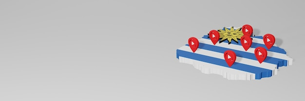 Использование социальных сетей и youtube в уругвае для создания инфографики в 3d-рендеринге