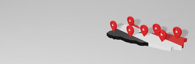 Использование социальных сетей и youtube в йемене для создания инфографики в 3d-рендеринге