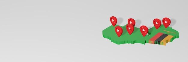 Использование социальных сетей и youtube в замбии для создания инфографики в 3d-рендеринге