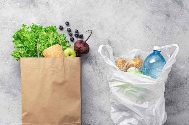 Use paper bag or plastic bag