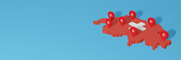 Use of pinterest in switzerland for the needs of social media tv and website background cover