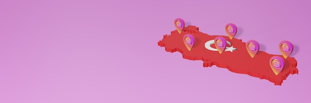 Use of social media and instagram in turkey for infographics in 3d rendering