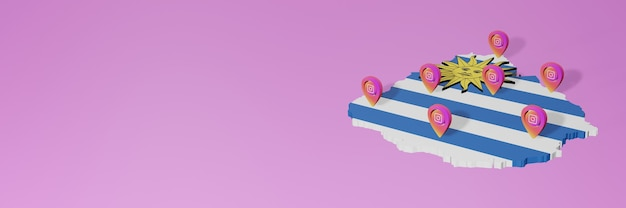 Use of social media and instagram in uruguay for infographics in 3d rendering