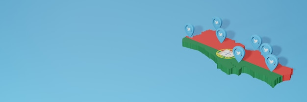 Use of social media and twitter in portugal for infographics in 3d rendering
