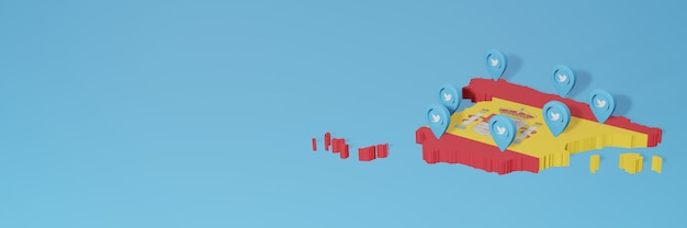 Use of social media and twitter in spain for infographics in 3d rendering