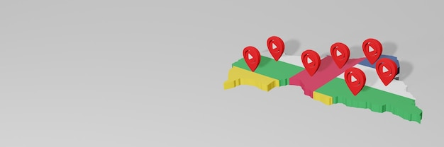 Use of social media and youtube in central african republic for infographics in 3d rendering