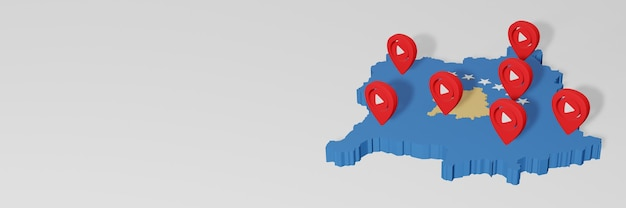 Use of social media and youtube in kosovo for infographics in 3d rendering