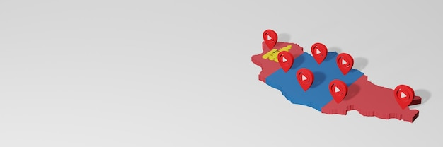 Use of social media and youtube in mongolia for infographics in 3d rendering