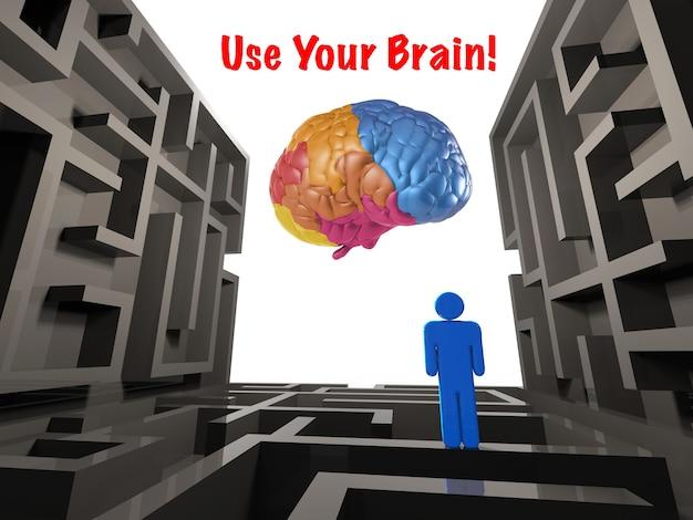 Используйте свою концепцию мозга с лабиринтом и красочным мозгом Premium Фотографии