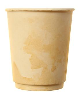 白い表面に分離された使用済みコーヒーカップ紙
