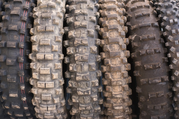 Used off road motocross tires background.