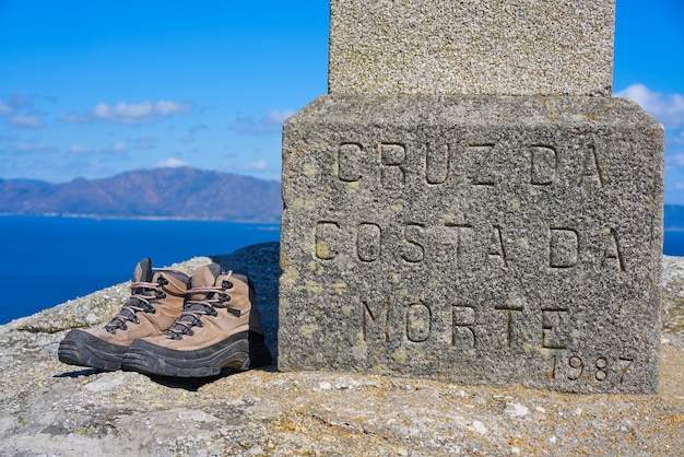 Used shoes at the end of saint james way finisterre