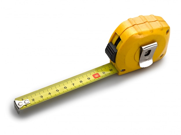 Used tape measure isolated white