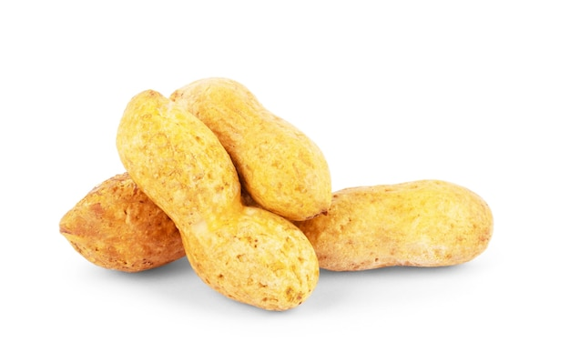 유용한 땅콩, 근접, 흰색 배경에 고립