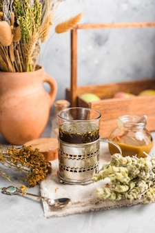 Useful tea from dried medicinal herbs, alternative medicine