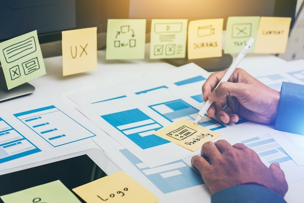 User experience ux er web smartphone layout.