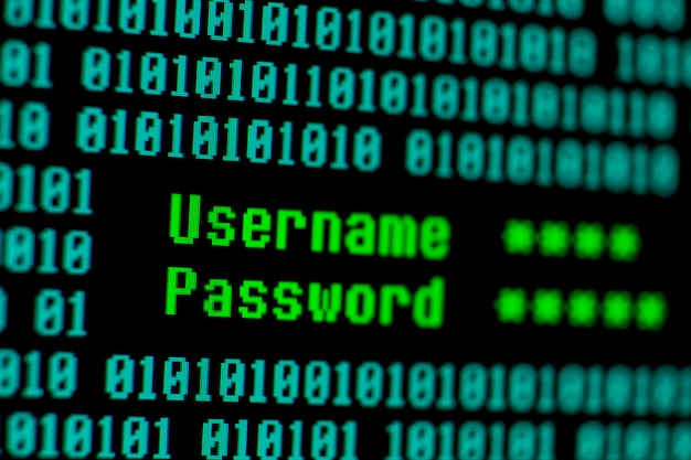 Username and password with binary code