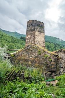 ウシュグリ-ヨーロッパで最も人口の多い村。コーカサス、アッパースヴァネティ-ユネスコ世界遺産。ジョージア。