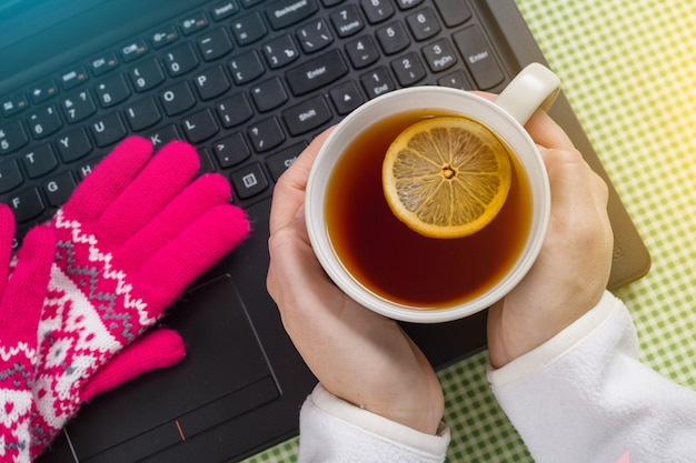 Using laptop in a cold winter - female with gloves on.