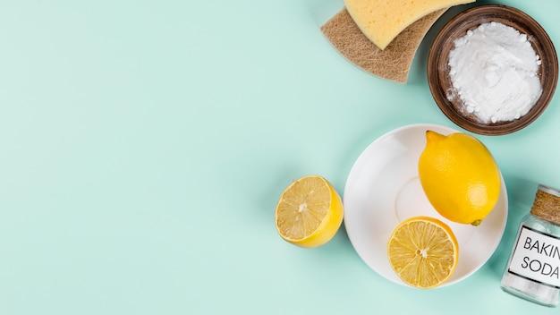 유기 청소 하우스 제품에 레몬 사용