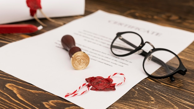 Using wax seal for graduation diploma certificate