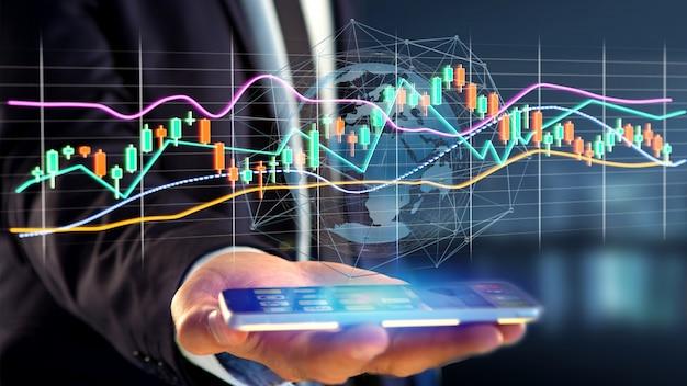 Бизнесмен usng смартфон с 3d-рендеринга фондовая биржа торговых данных отображения информации на футуристическом интерфейсе