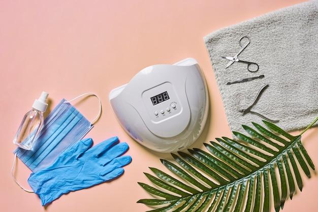 Uv led 네일 램프 매니큐어 도구, 수건 의료용 얼굴 마스크 장갑 및 손 소독제