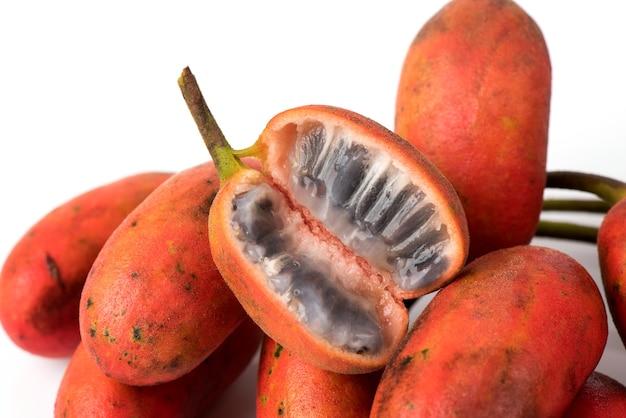Uvaria rufa blume fruits isolated on white background.