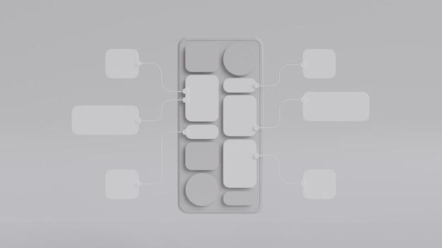 Дизайн прототипа разработки приложений блок-схемы ux ui. концепция пользовательского опыта.