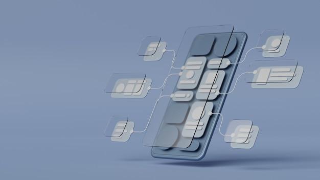 Uxuiフローチャートアプリケーション開発プロトタイプデザイン。ユーザーエクスペリエンスの概念。