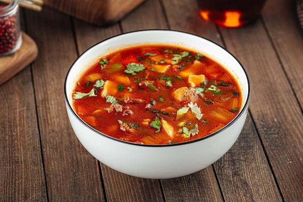 Uzbek nan zharkop stewed soup with meat and dough