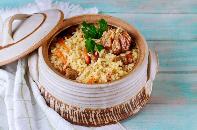 Uzbek pilaf with vegetable and meat.