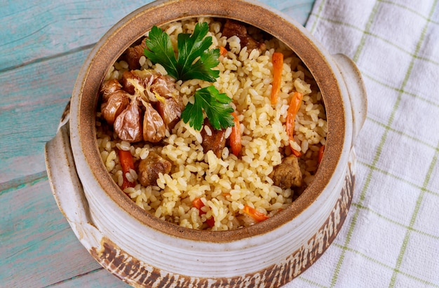 Uzbek rice with vegetable and meat.