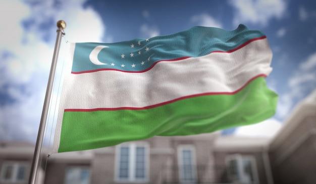 Флаг узбекистана 3d-рендеринг на фоне голубого неба