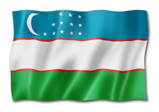 Флаг узбекистана, изолированные на белом