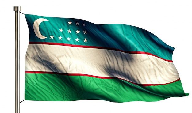 Bandiera nazionale uzbekistan isolato 3d sfondo bianco