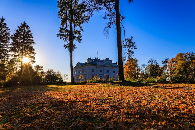 인상적인 스타일의 인테리어로 가을의 uzutrakis 저택과 공원 앙상블
