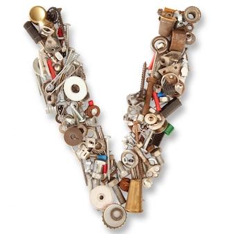 V isolated mechanical letter
